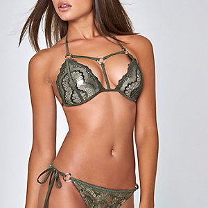 Haut de bikini triangle en dentelle vert kaki à lanières