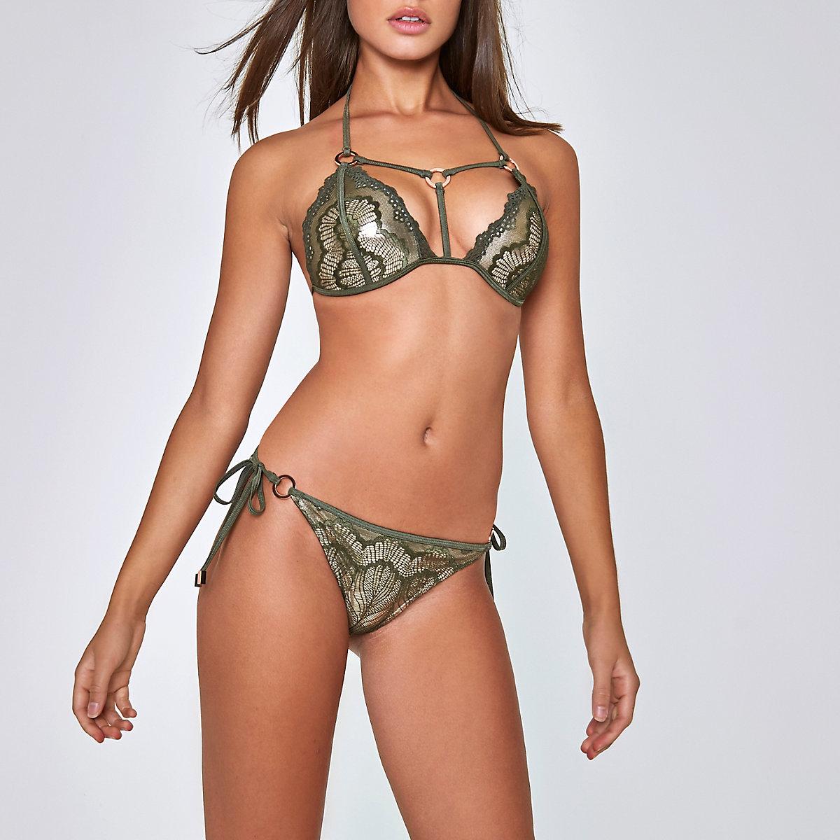 Khaki green lace tie side bikini bottoms