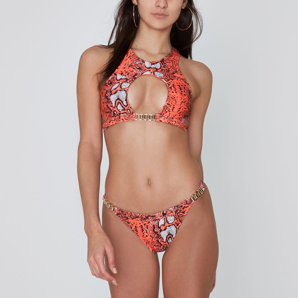 Coral snakeskin cut out longline bikini top
