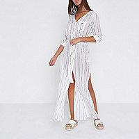 White stripe maxi shirt beach cover up