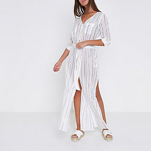 White stripe maxi shirt beach cover up