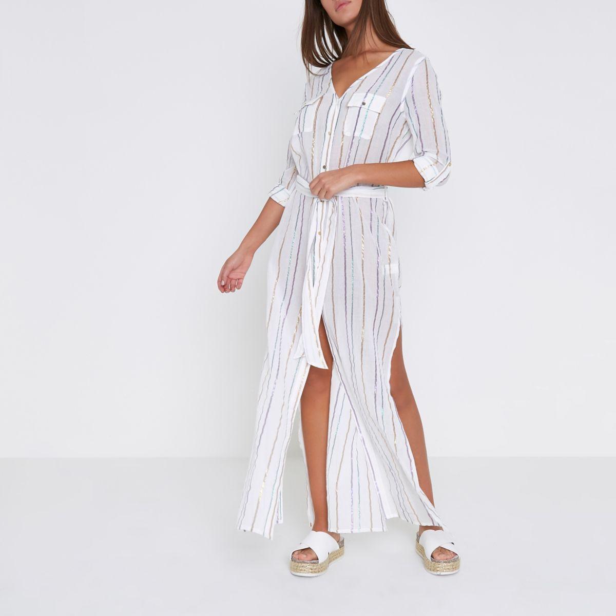 White stripe maxi shirt beach cover up kaftans cover for Beach shirt cover up