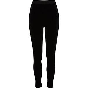 Black velvet front high waisted leggings