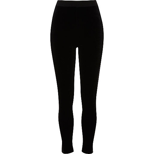 Black velvet front high waisted leggings