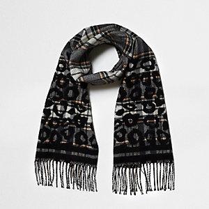 Grijze sjaal met ruiten en luipaardprint