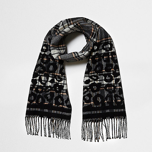 Grey check and leopard print scarf