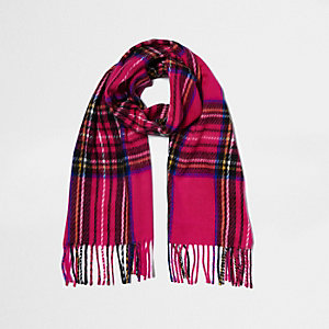 Pink plaid check scarf