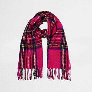 Écharpe à carreaux écossais rose