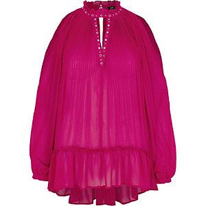 Pinke Bluse mit Rüschenbesatz