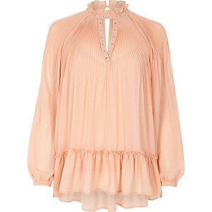 Light pink high neck Victoriana blouse