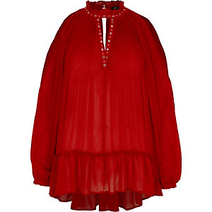 Red chiffon pleated eyelet detail blouse