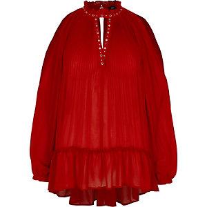 Rode geplooide blouse van chiffon met oogjes