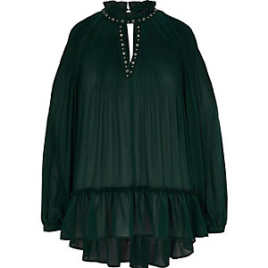Green chiffon pleated eyelet detail blouse