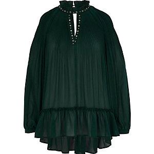Groene geplooide blouse van chiffon met oogjes