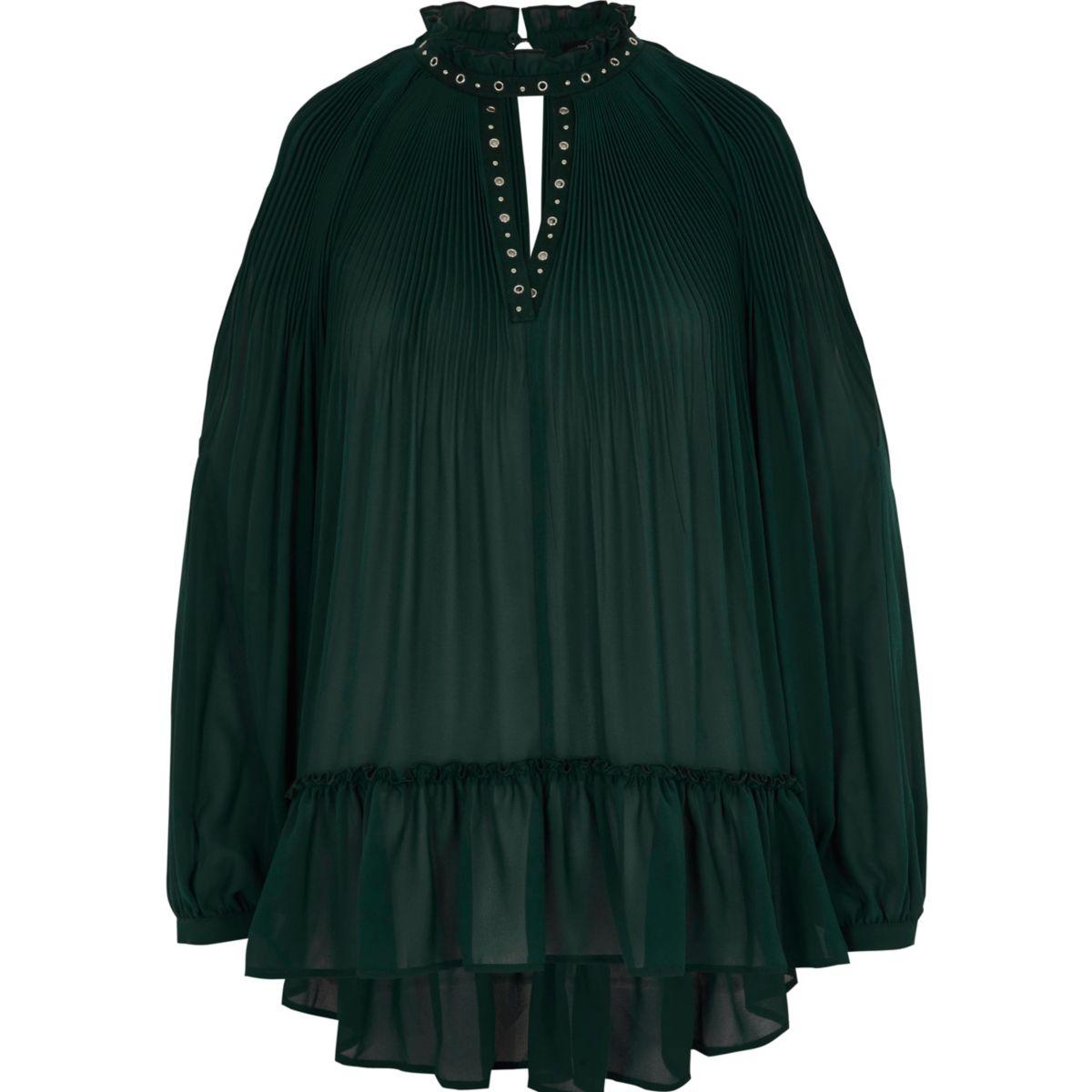 Green chiffon pleated eyelet detail blouse