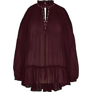 Dark red high neck Victoriana blouse