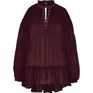 Dark red high neck Victoriana blouse