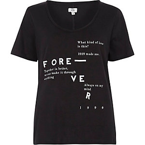 Zwart T-shirt met lage hals en 'forever'-print