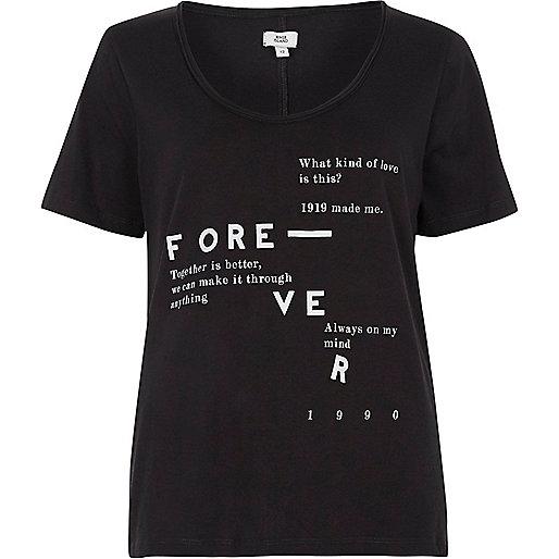 Black 'forever' print scoop neck T-shirt