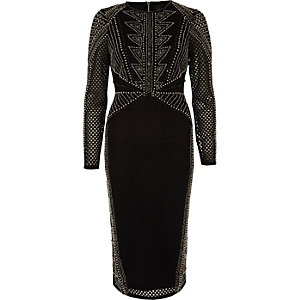 Black embellished mesh bodycon midi dress