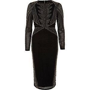 Zwarte verfraaide bodycon midi-jurk met mesh