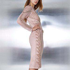 Roze verfraaide bodycon midi-jurk met mesh en kralen