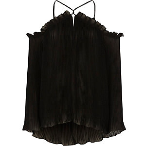 Black pleated cold shoulder blouse
