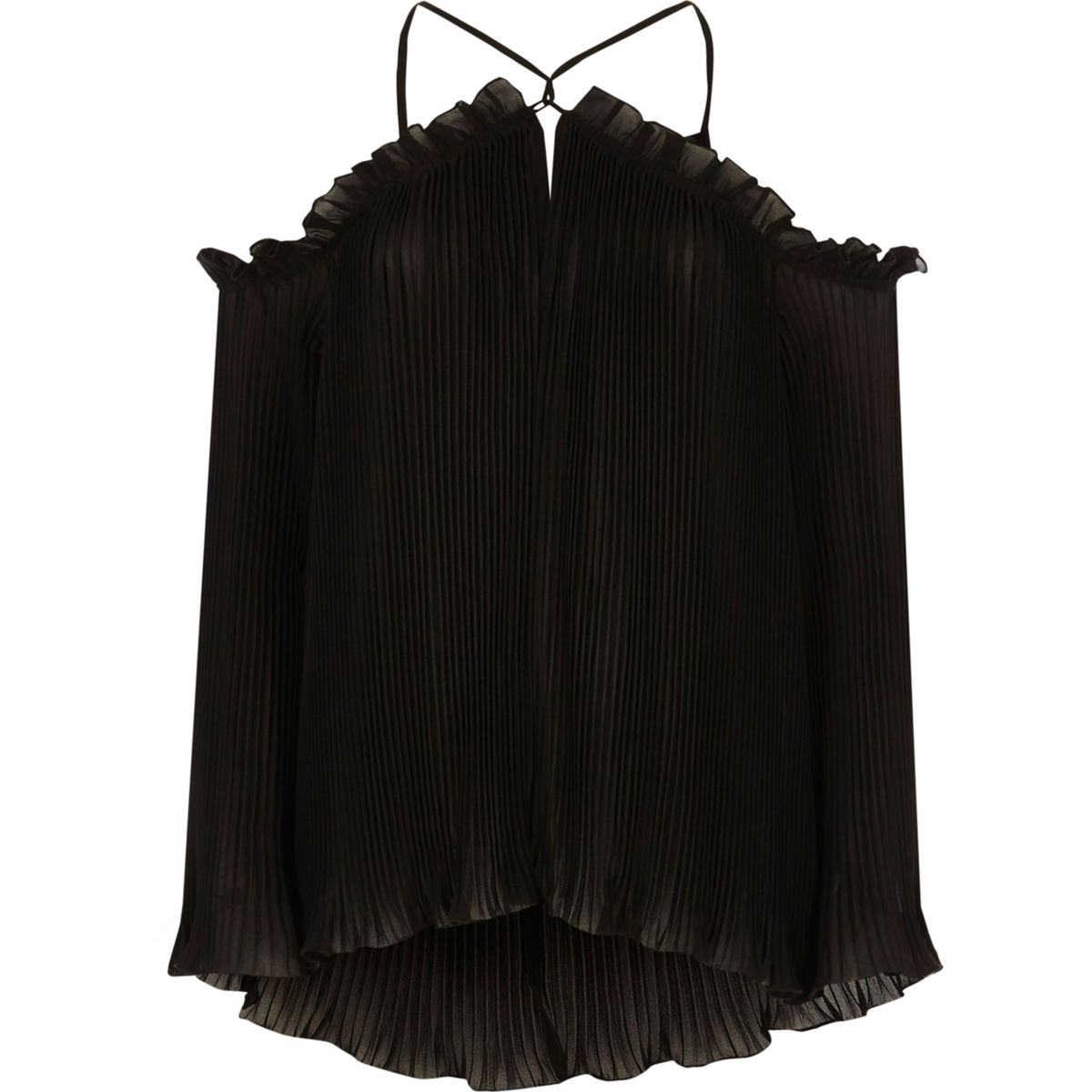 Black pleated cold shoulder blouse