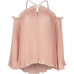 Light pink pleated cold shoulder blouse