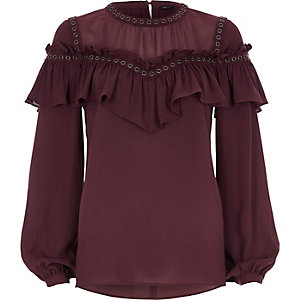 Dark red eyelet trim frill blouse