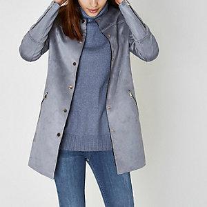 Manteau bord à bord en suédine bleu