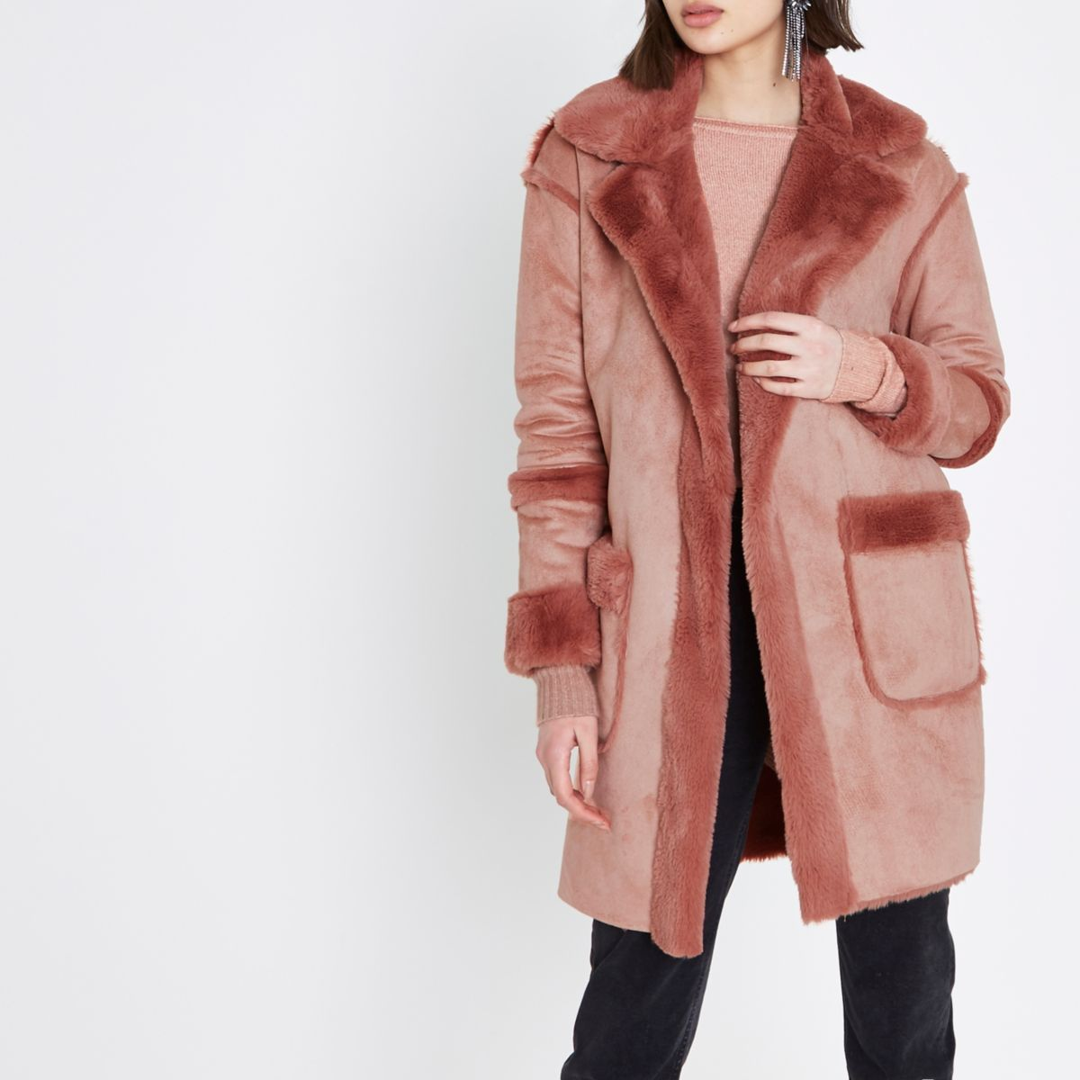 Pink faux shearling coat
