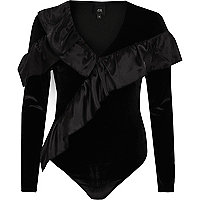 Black velvet frill long sleeve V neck body