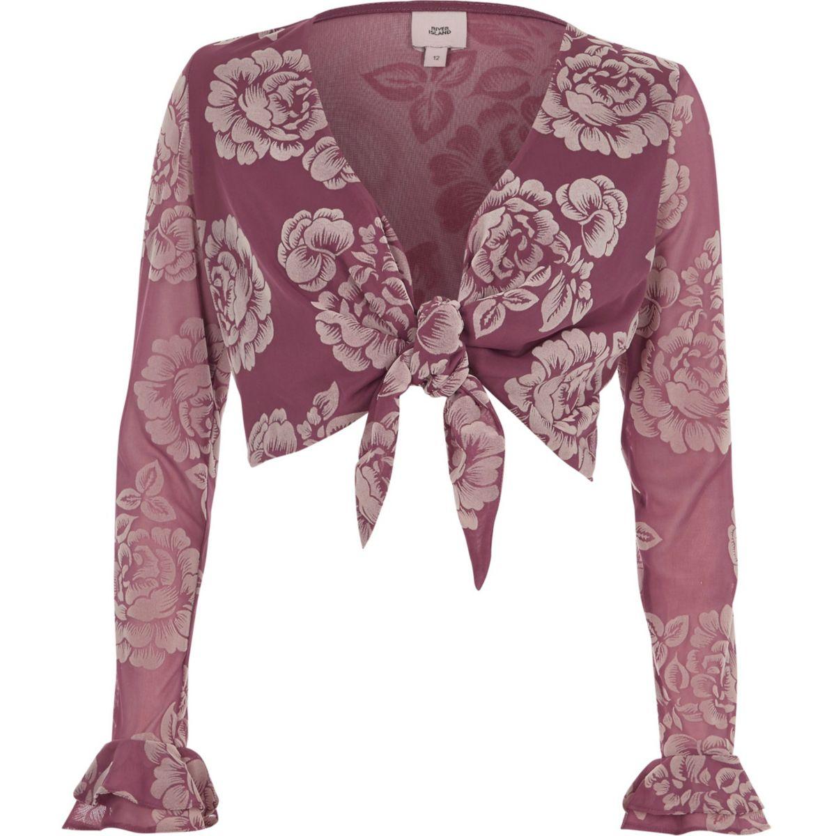 Pink floral flocked knot front crop top