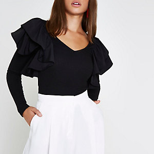Black frill shoulder long sleeve ribbed top