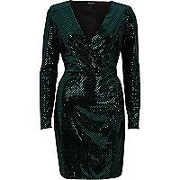 Green sequin metallic wrap bodycon dress