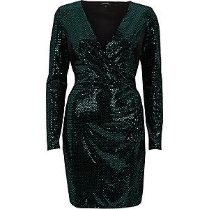 Grünes Bodycon-Kleid mit Pailletten