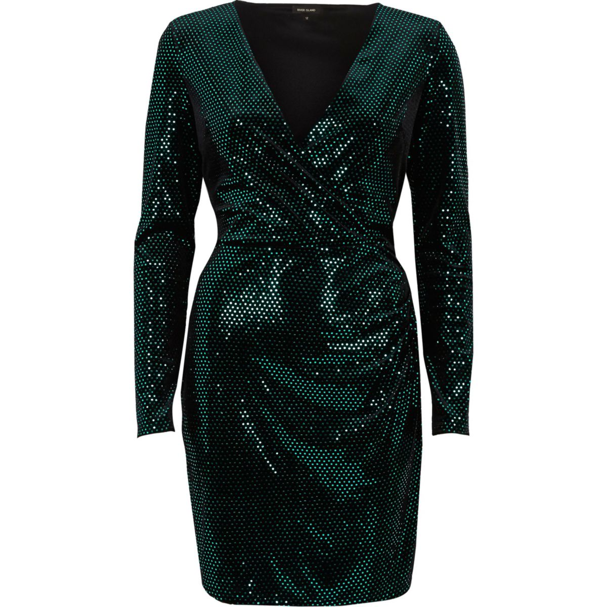 Green sequin metallic wrap bodycon dress