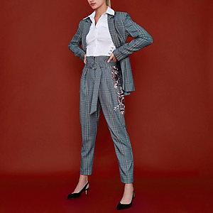 RI Studio - Zwart geruite broek met hoge taille