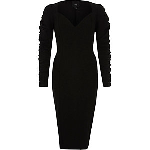Black ruched sleeve plunge midi bodycon dress