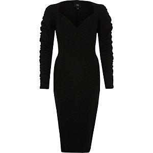 Black ruched sleeve plunge midi bodycon dress