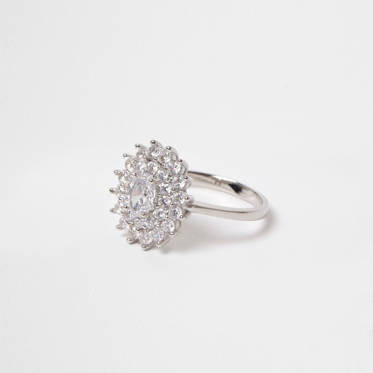 Silver tone cubic zirconia flower ring