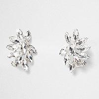 Silver tone diamante ear cuffs
