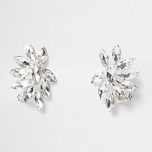 Silver tone rhinestone ear cuffs