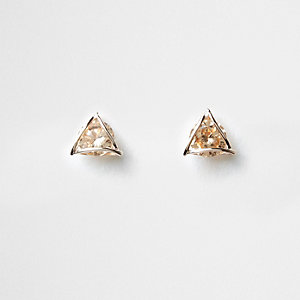 Gold tone rhinestone triangle stud earrings