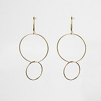 Gold tone triple hoop drop earrings