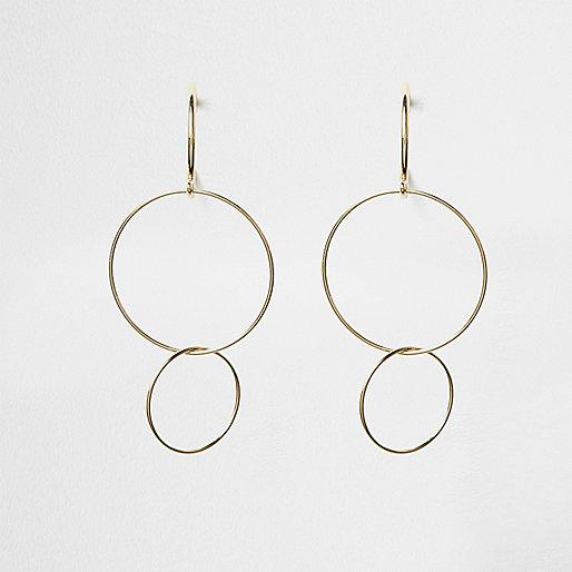Gold tone triple hoop drop earrings