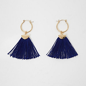 Navy and gold tone tassel hoop earrings