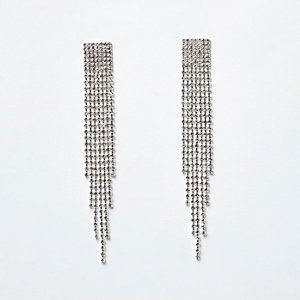 Silver tone rhinestone pave drop earrings