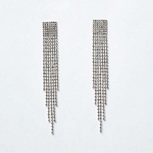Silver tone diamante pave drop earrings